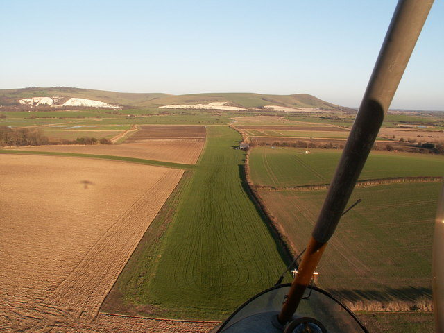 Looking towards Mount Caburn and cliffs at Lewes