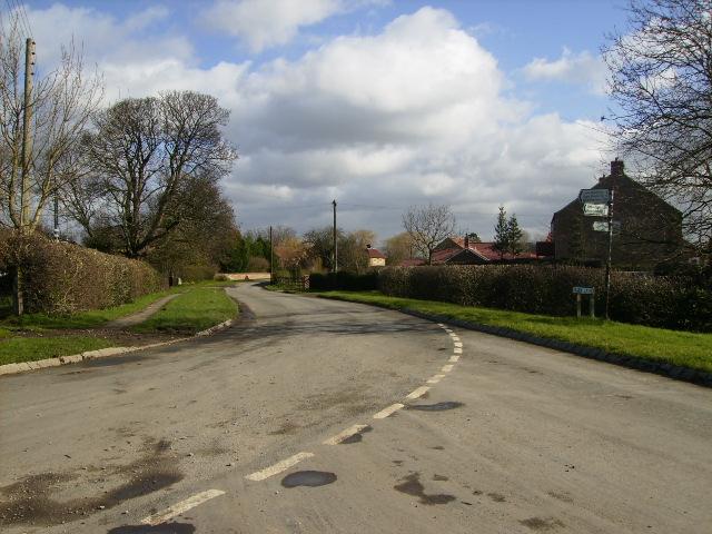Road junction entering Lower Dunsforth