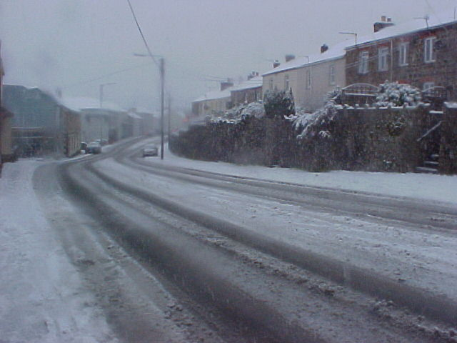 Fore Street St Blazey in the snow looking towards St Austell