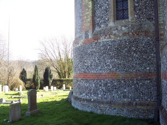 Brick and flint detail on St Mary's Church, West Dean