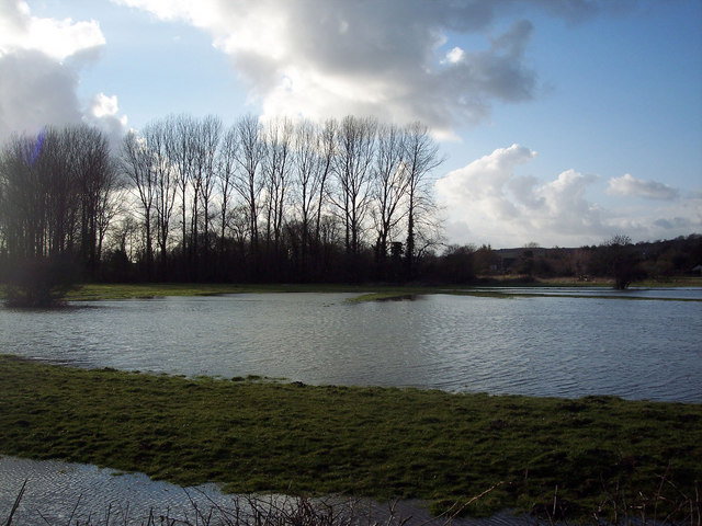 Flooded fields in Bishopstone