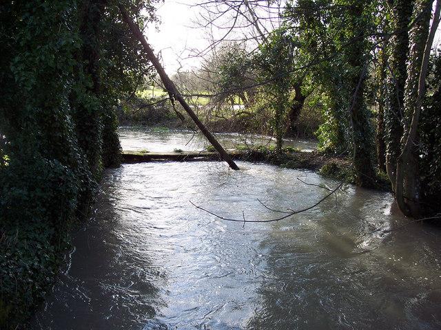 Swollen River Ebble near St John the Baptist Church, Bishopstone