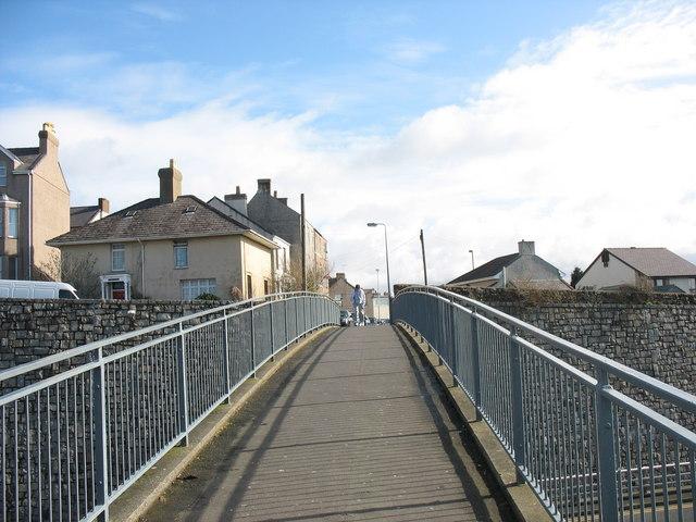 On the Twthill footbridge