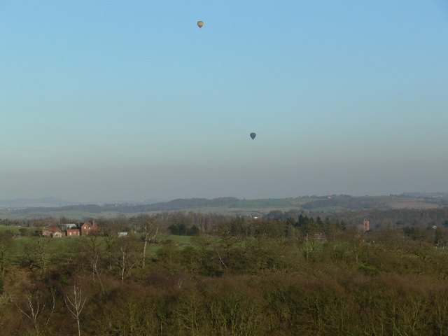 Air balloons over Worcestershire countryside