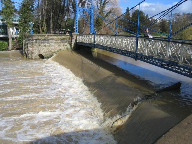Weir at Mill Bridge in flood