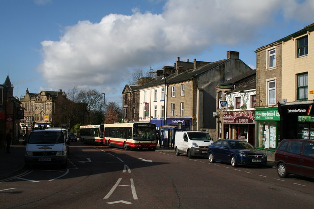 Buses in Church Street, Colne, Lancashire