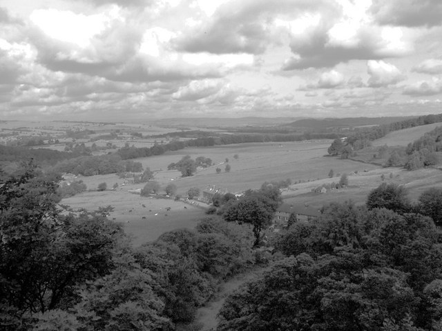 View From Rowtor Rocks Behind The Druids Inn at Birchover