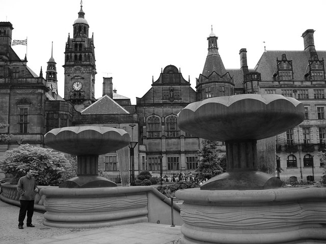 Sheffield Peace Gardens - Town Hall in the Background