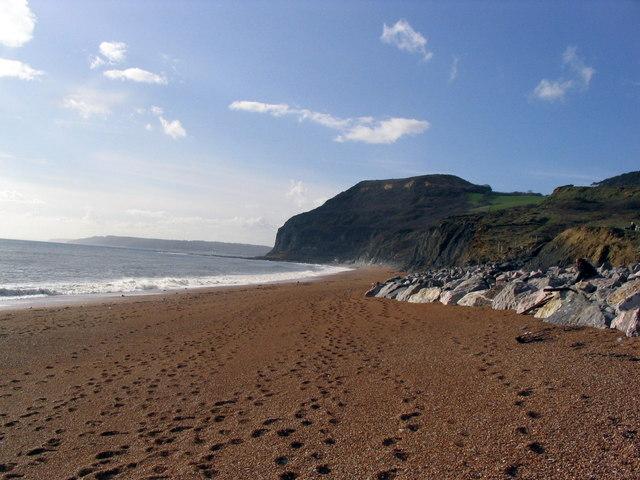 The beach west of Seatown towards Golden Cap