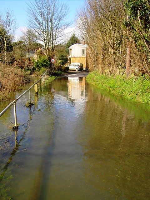 Flooded road, Southcott, Wiltshire