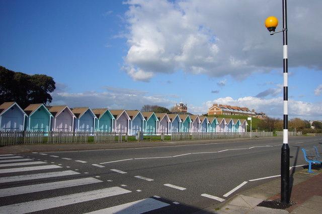 Beach-huts and Zebra Crossing, Eastney Esplanade