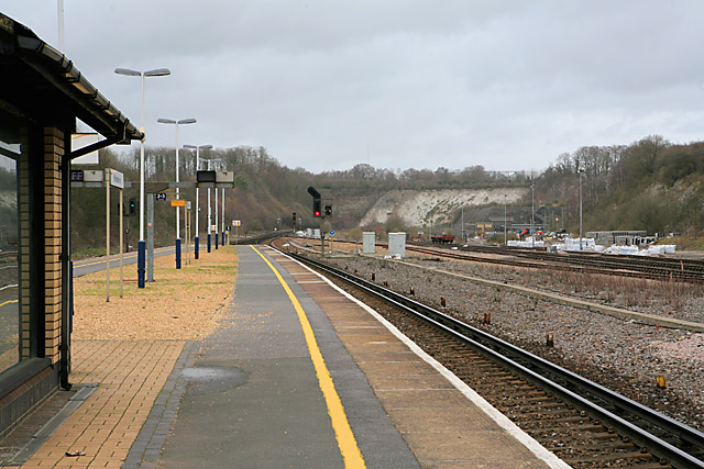 Railway line at Micheldever Station, looking towards Basingstoke