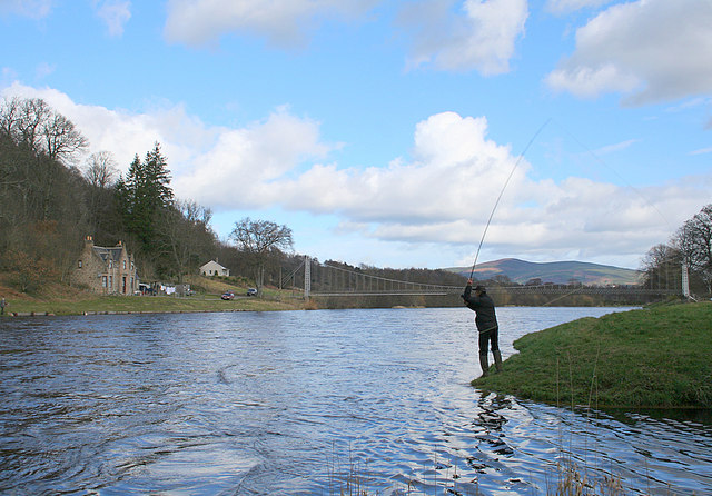 Salmon angler on the Aberlour Association water.
