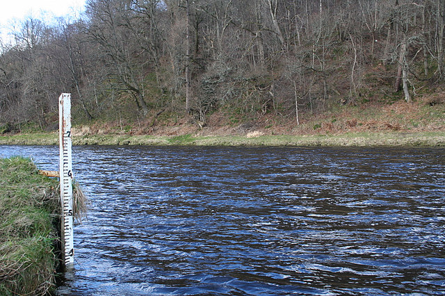 The gauge at the junction of the Lour Burn and the River Spey by Aberlour