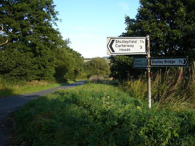 Road Junction at Waskerley Edge