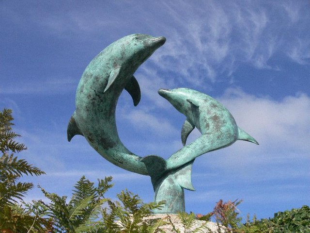 Dolphin sculptures on Tresco, Isles of Scilly