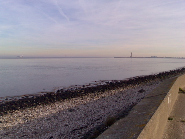 View of Humber estuary & Grimsby Dock Tower