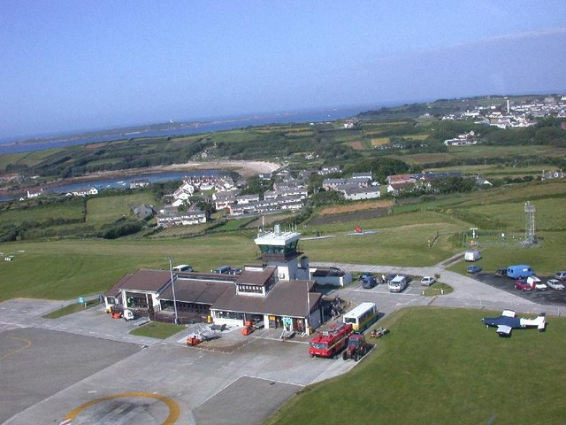 Taking off by helicopter from St Mary's Isles of Scilly