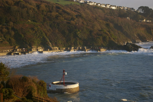 The exit from Looe harbour, with the eastern coast