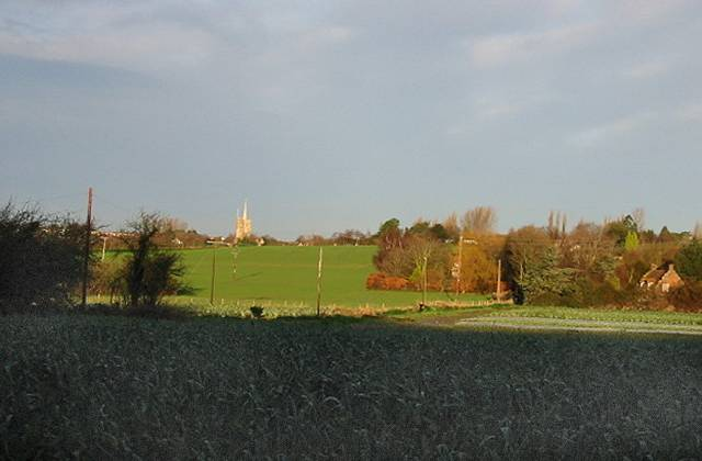 View across fields, Ash church in background