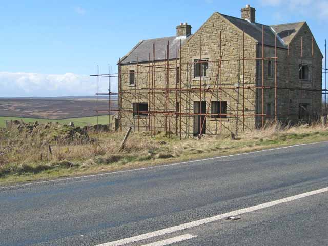 House under reconstruction beside the A68