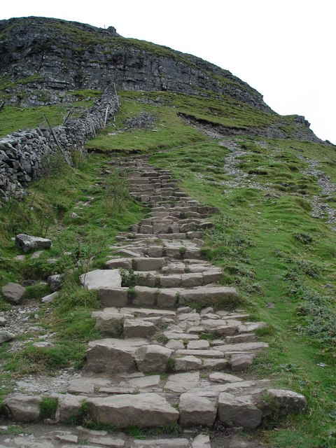 The Pennine Way. The ascent up the southern face of Pen-y-ghent.