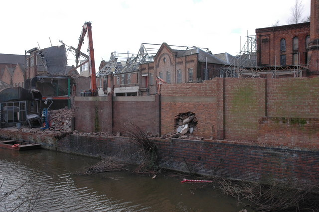 Demolition of factory in Worcester