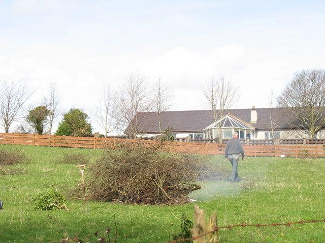 Burning field hedge cuttings at Cae Hywel