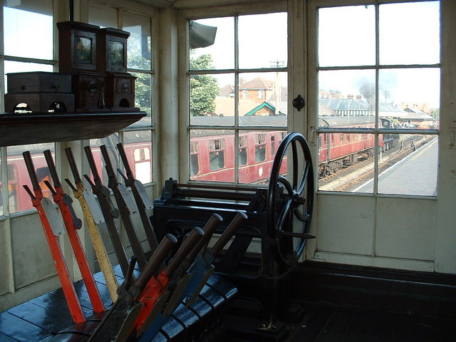Inside Signal Box, Sheringham station.