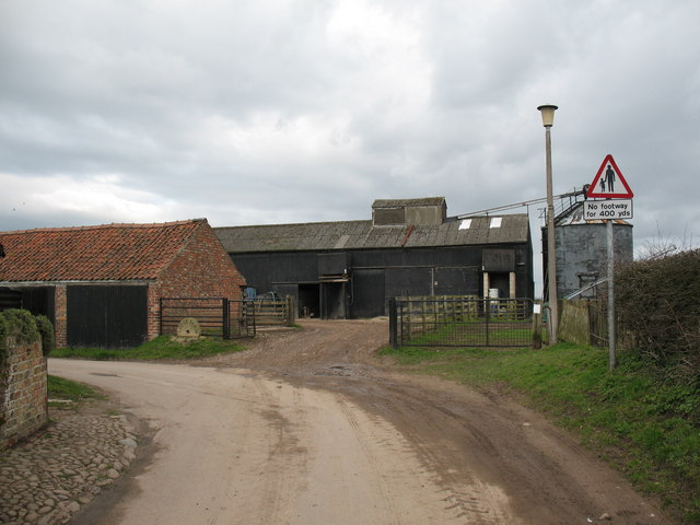 Farm buildings and yard at Helperby