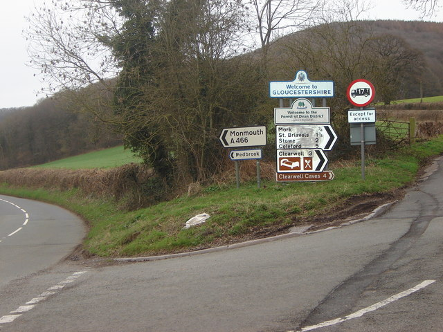 Road junction by Bigsweir Bridge, Monmouthshire