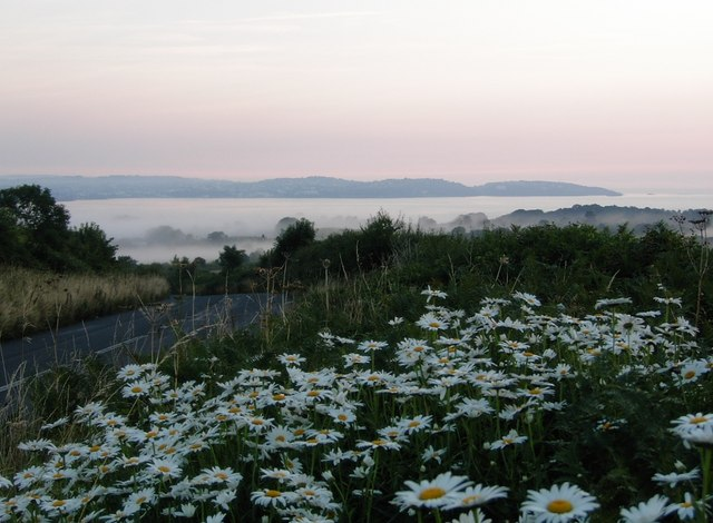 A misty view across to Torbay from the Kennels Road