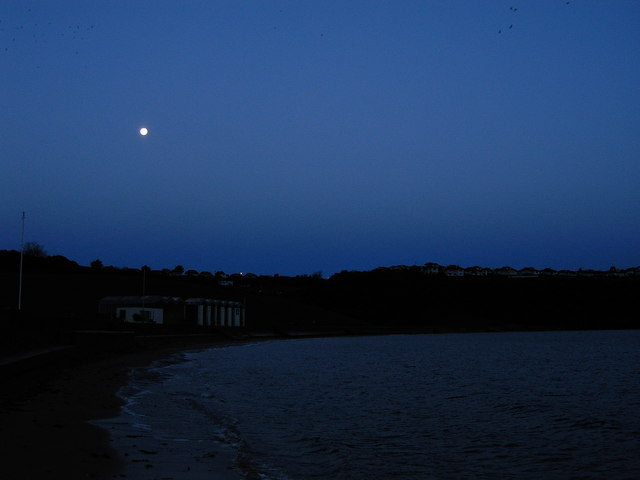 Prior to dawn at Broadsands beach, Moon setting