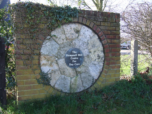 Millstone and Plaque outside Windmill, Hempnall