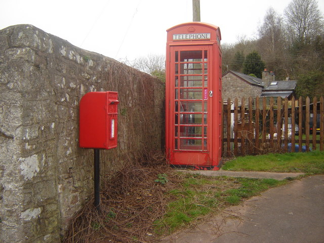 Telephone box and Post box at Brockweir