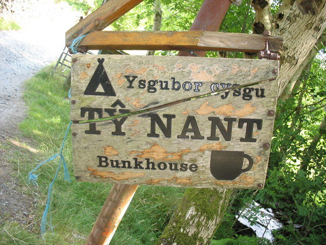 Sign at the entrance to Ty Nant Farm
