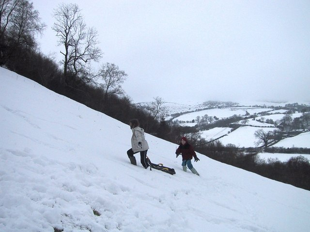 Penllan Hill near Nantmel in Snow