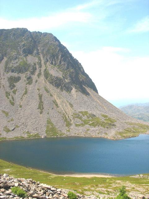 Cyfrwy across Llyn y Gadair from the bottom of Llwybr Llwynog (Fox's Path)