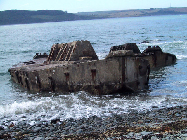 Mulberry Harbour 'Beetles' at Old House Point, Loch Ryan