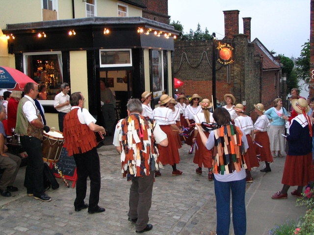 Tudor Rose pub with Morris Dancers