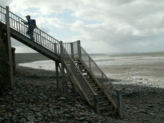 Steps to Coastal Path at Llannon