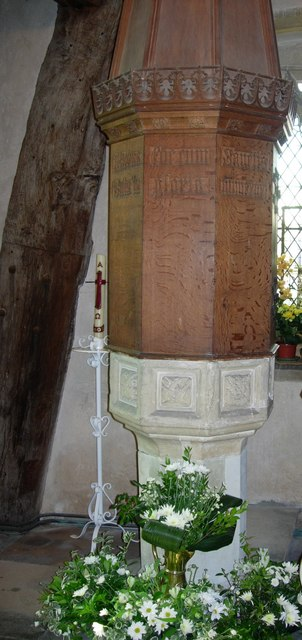 Font in St. Giles' Church, Mountnessing, Essex