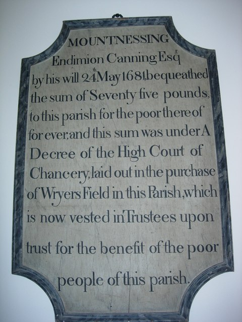 Wall plaque in St. Giles' Church, Mountnessing, Essex