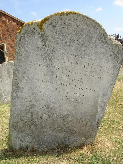 Gravestone of William Samuel of Begrums Farm, Mountnessing, Essex
