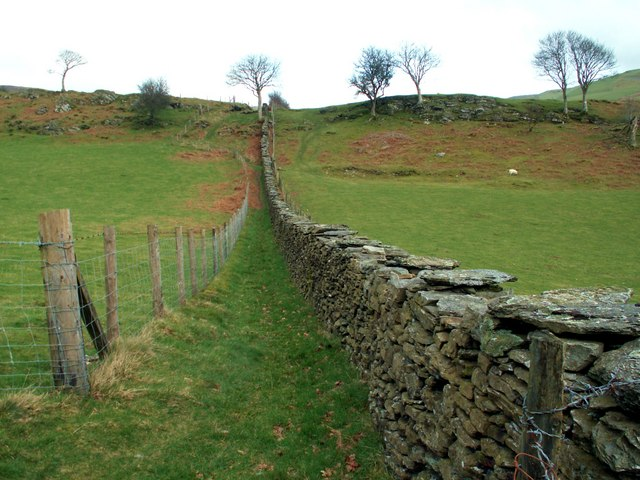 Path with dry stone wall boundary