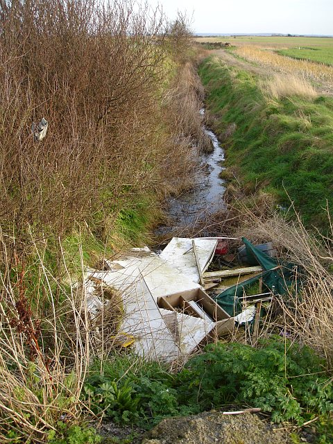 Fly tip in a ditch