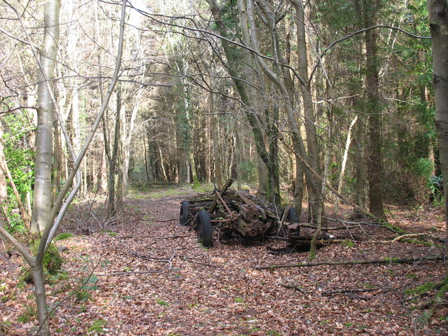 The remains of an old lorry in Coed y Faenol/Vaynol Woods