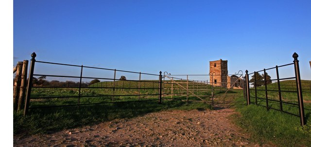Entrance to Knowlton Church ruins & earthworks