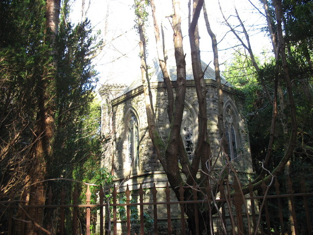 The lorry is not the only old remains hidden in these woods - the Vaynol Mausoleum