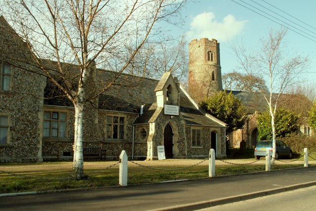 Village Hall and St. Peter's church at Needham